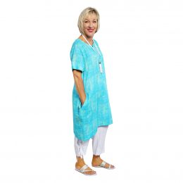 Candice Dress - Turquoise Squares