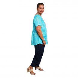 Larissa Top - Turquoise Squares