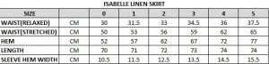 Isabelle Linen Skirt Size Chart