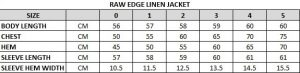 Raw Edge Linen Jacket Size Chart