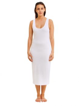 Madison Sleeveless Midi Slip - White