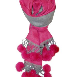 Hot Pink Pompom With Tassel Scarf