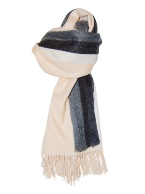 Cream Stripe Viscose Scarf