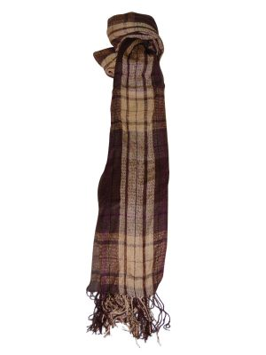 Stone Woven Check Scarf