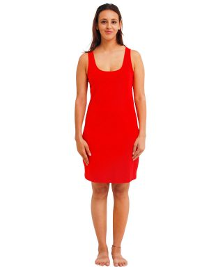 RED RAYON SLIP FRONT