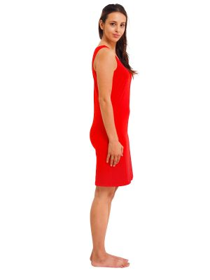 RED RAYON SLEEVELESS SLIP SIDE VIEW