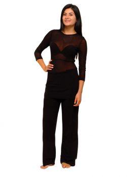 Rosie Net 3/4 Sleeve Top - Black