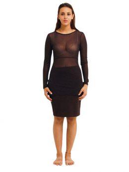 Rosie Net Long Sleeve Top - Black