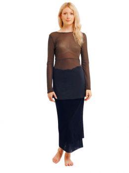 Rosie Net Long Sleeve Top - Granite