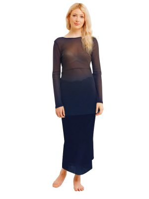 NAVY 2 LAYER NET SKIRT FRONT