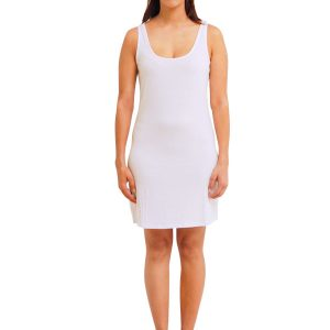 WHITE RAYON SLEEVELESS SLIP