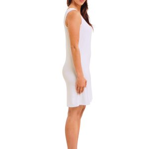WHITE RAYON SLEEVELESS SLIP SIDE VIEW