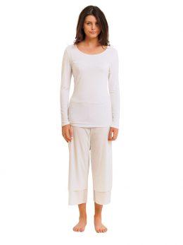 Rosie Net White 3/4 Length Pant