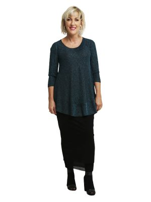 Isabella Tunic 3/4 Sleeve - Blue Lurex