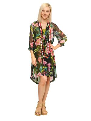 Mary 3/4 Sleeve Dress - Tropical Black