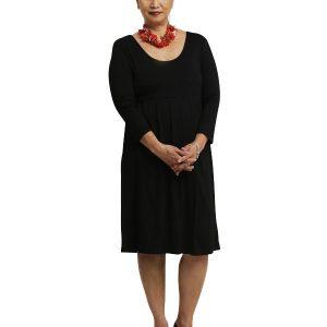 Sally 3/4 Sleeve Dress - Black Rayon