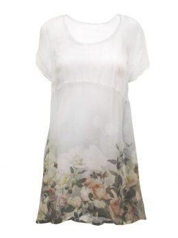 Elizabeth White Rose Border Silk