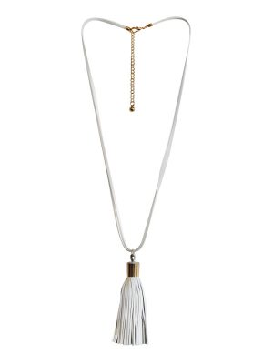 White Leather Tassle necklace.