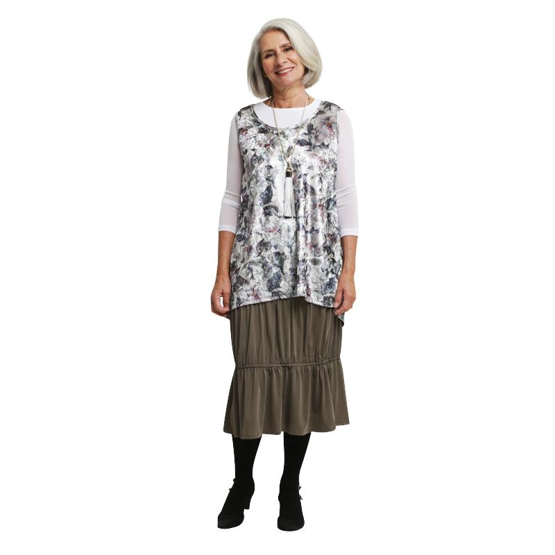 Kimberley Skirt - Tiered Khaki Skirt