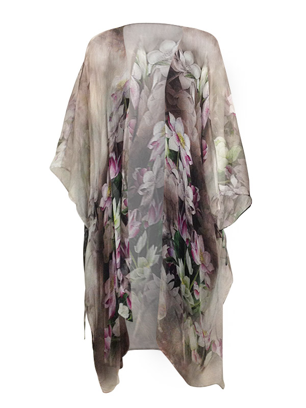 Carmen Long Open Kaftan - Lotus Panel