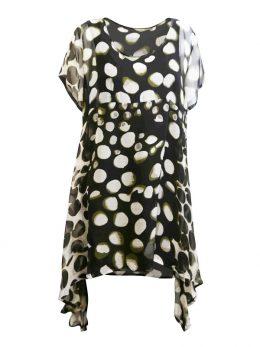 Elizabeth Cap Sleeve Tunic - Olive Spot