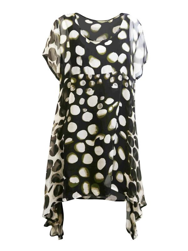 Elizabeth Cap Sleeve Tunic – Olive Spot