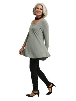Isabella Tunic 3/4 Sleeve - Sage Metallic