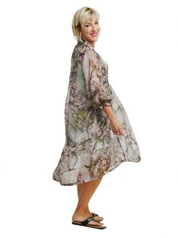 Mary Silk 3/4 Sleeve Dress - Almond Blossom
