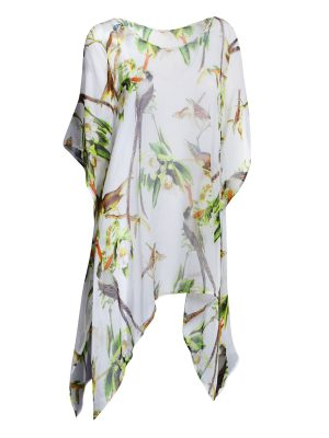 Gloria Silk Kaftan - White Bird