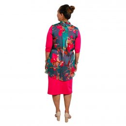 Kendal Silk Wrap Tunic - Teal Buds