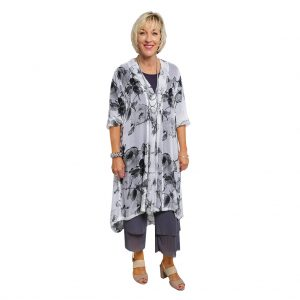 MARY 3/4 SLEEVE SILK DRESS – White Cotton Flower