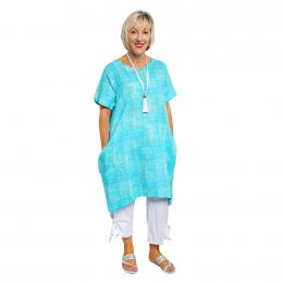 Candice Dress - Turquoise Squares
