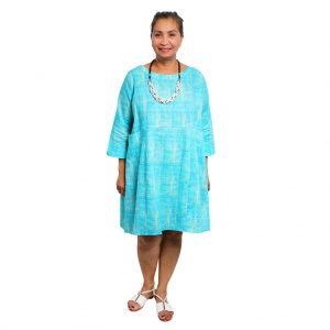 Dysie Dress - Turquoise Squares