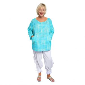 Dysie Top - Turquoise Squares