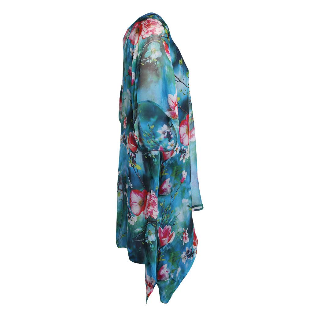 Gloria Silk Kaftan – Turquoise Blossom