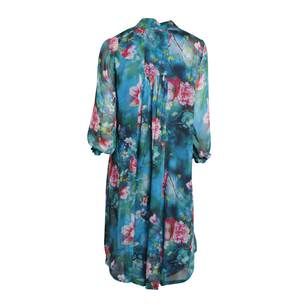 Mary 3/4 sleeve dress – Turquoise Blossom
