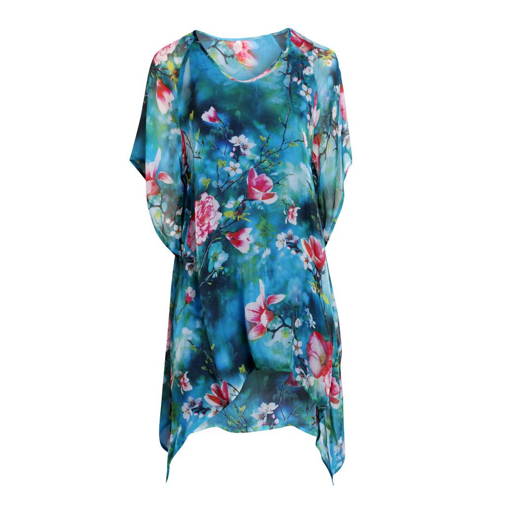 Gloria Silk Kaftan - Turquoise Blossom