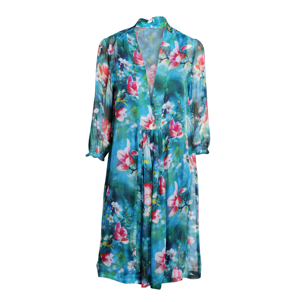 Mary 3/4 sleeve dress - Turquoise Blossom