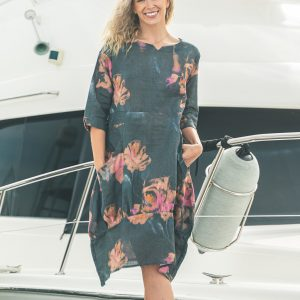 PRINTED LINEN DRESS - LILY CHARCOAL ROSE