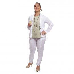 Georgia Linen Pant - White