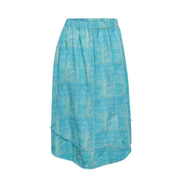 Turquoise Squares Skirt B