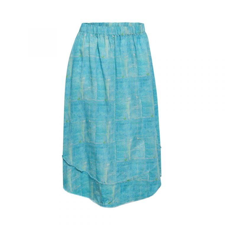 Turquoise Squares Skirt B