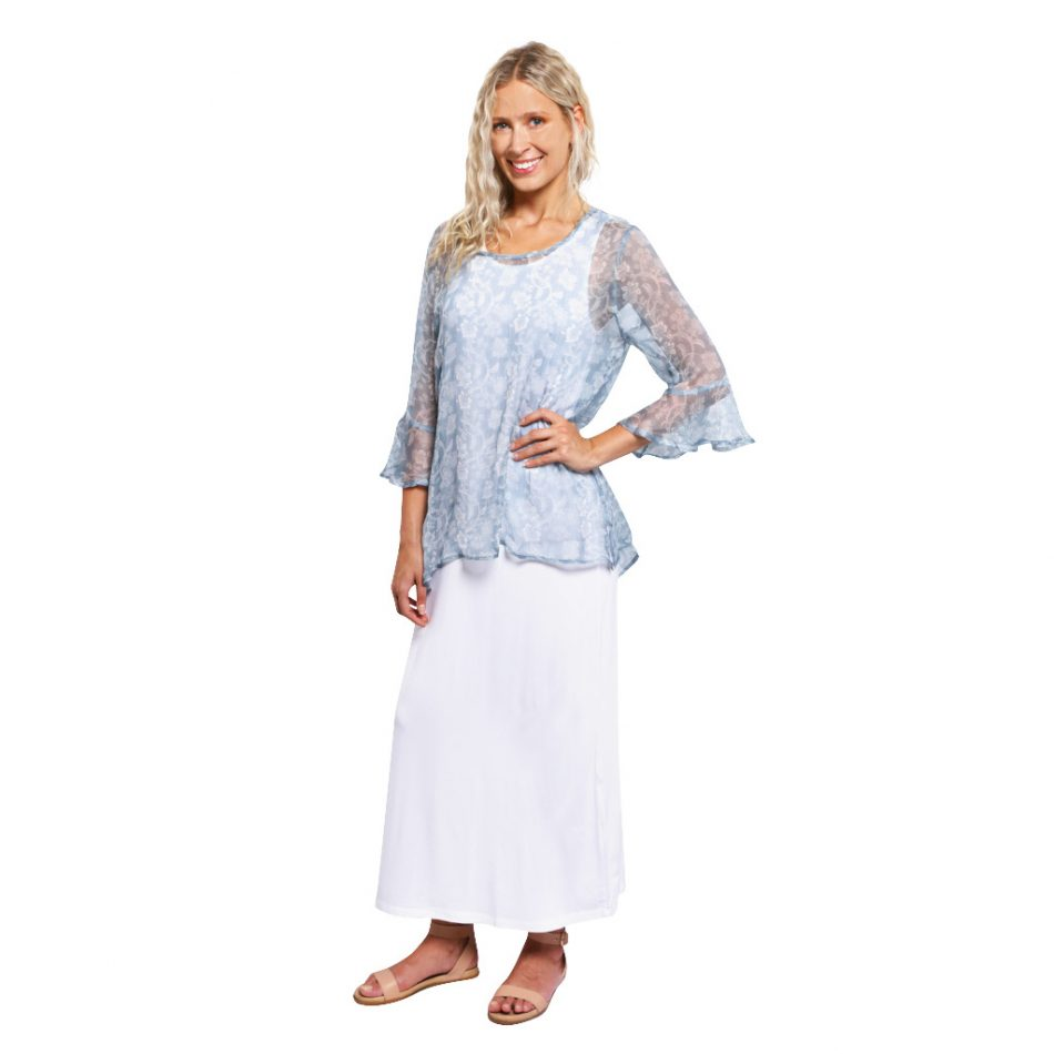 Ruffle Sleeve Silk Top Blue Paisley