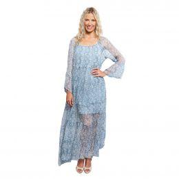 Tiered Maxi Silk Dress - Blue Paisley