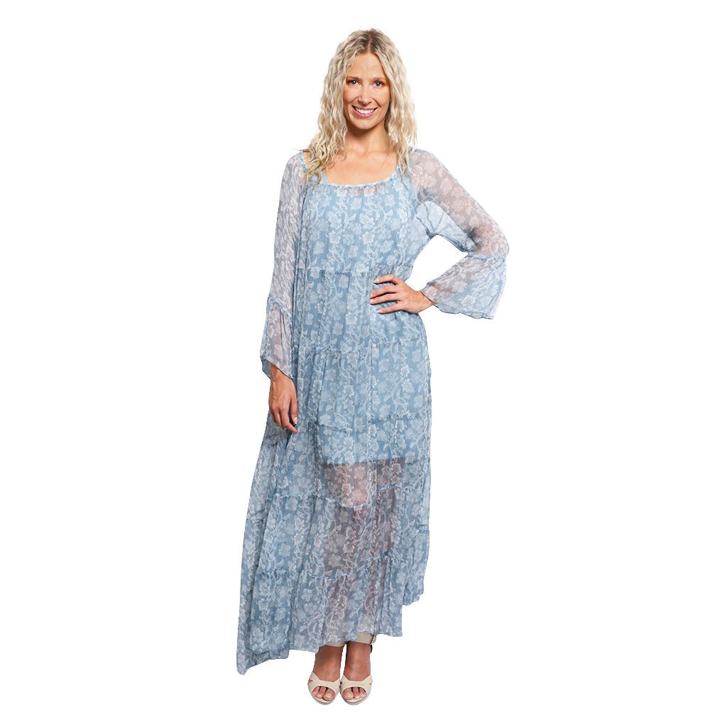 Silk Tiered Maxi Dress Blue Paisley