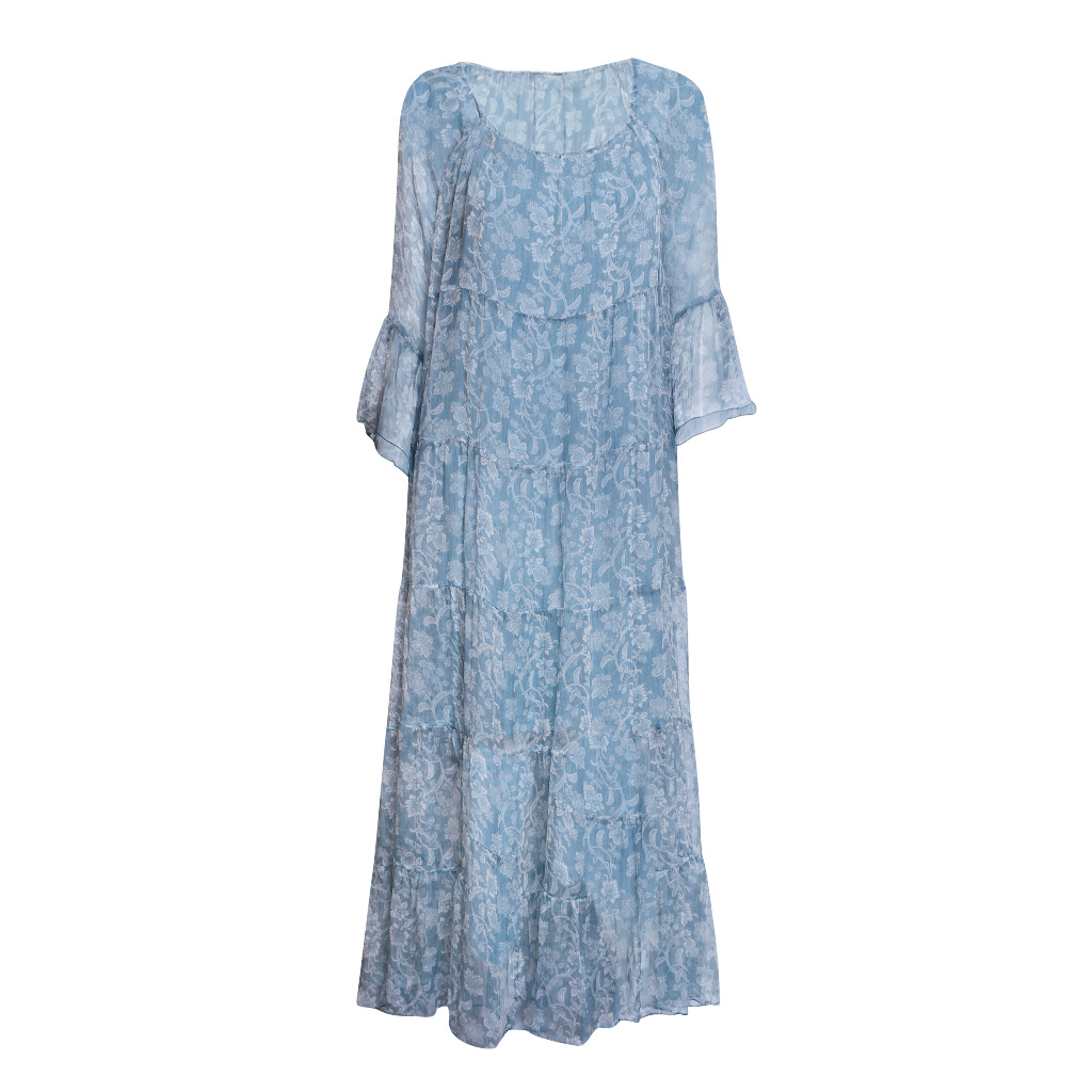 Maxi Tiered Paisley Blue F