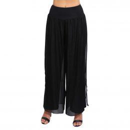 Silk Pants Full Length Black