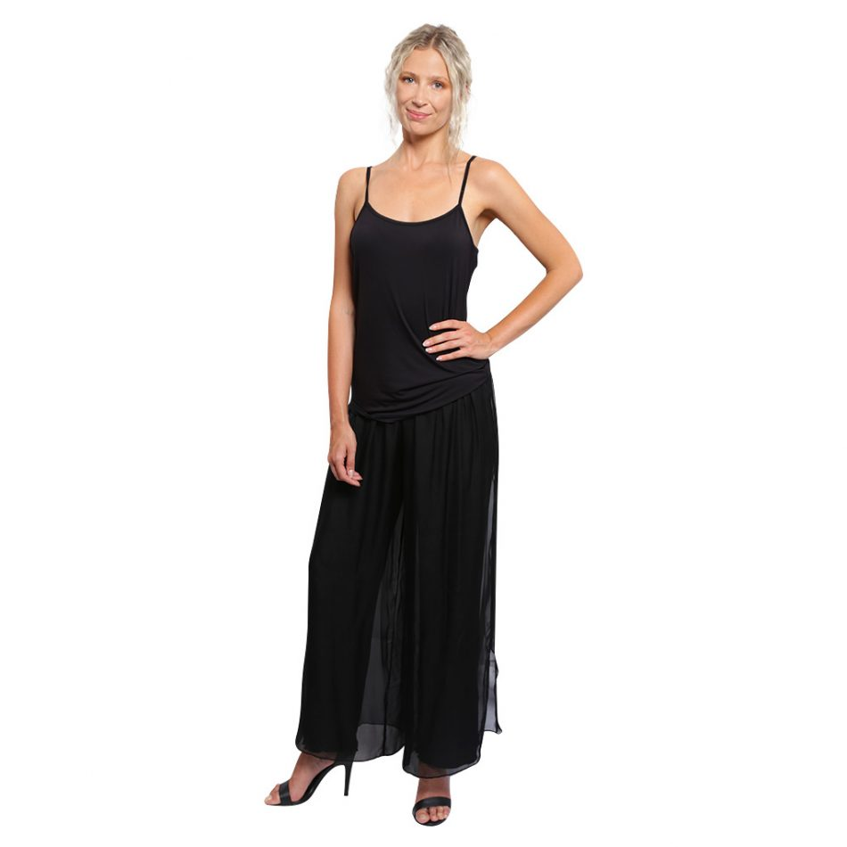 Silk Pant Full Length Black