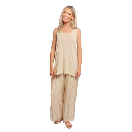 Silk Full Length Pant Stone