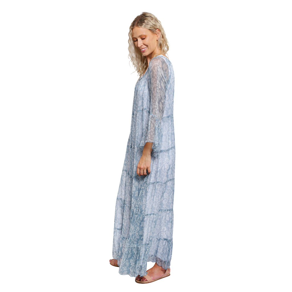 Tiered Maxi Dress Blue Paisley Side
